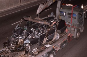 Carnage: The Princess died after the Mercedes she was travelling in (pictured) crashed in a tunnel in Paris