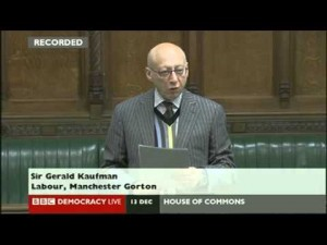Sir Gerald Kaufman, MP for Gorton, Manchester