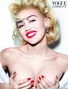 Speaking of Illuminati puppets, here's Miley Cyrus posing for Vogue Germany. As stated in previous articles, ALL industry sex kittens must pose as Marilyn Monroe at one point or another of their career. It was apparently Miley's turn.