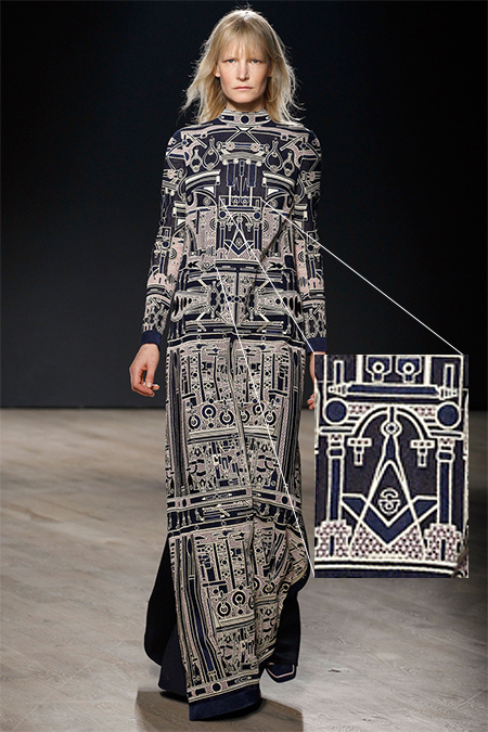 The fashion world is also all about secret societies. He's a design by Mary Katratntzou featuring unmistakeably Masonic imagery.
