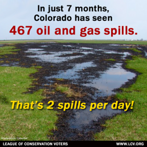 Whoa. There have been over 467 oil and gas spills in Colorado in just the first 7 months of 2014, most of which have gone unreported to local residents. This is ridiculous. Our country's addiction to fossil fuels clearly puts our health at risk and pollutes our environment. It's time to move beyond oil and gas and toward a clean and safe energy future. Tell Congress we demand more clean energy: http://wefb.it/uFHhiJ    Once we hit 5,000 signatures we'll be delivering your messages to Congress. Read more on the ongoing spills in Colorado here: http://bit.ly/1AytsPM