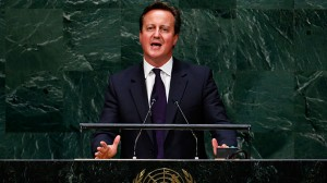 British Prime Minister David Cameron announces that the U.K. will join the air campaign against ISIL as he addresses the 69th United Nations General Assembly at the U.N. headquarters in New York September 24, 2014 (Reuters / Lucas Jackson)