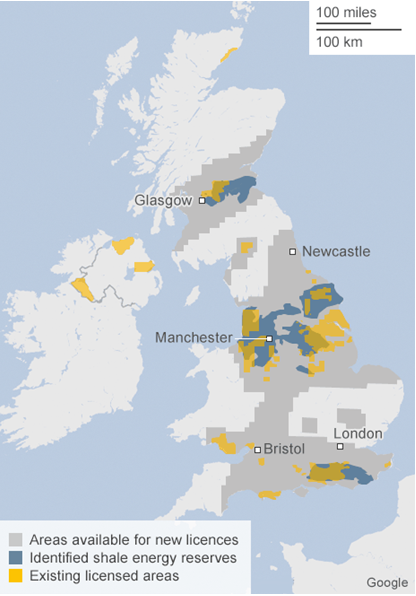 Shale gas sites in UK