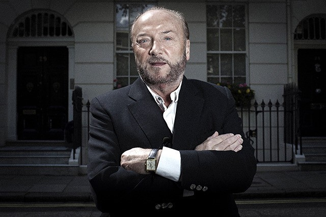 George Galloway outside one of Tony Blair's many houses