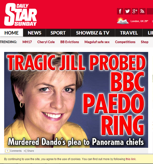 Jill Dando Daily Star Headline
