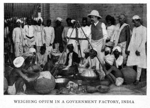 Weighing opium in a British-controlled opium factory in India.