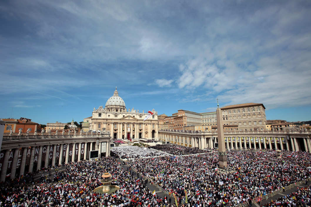 A general view of St. Peter's Square during the John Paul II Beatification Ceremony held by Pope Benedict XVI on May 1, 2011 in Vatican City, Vatican. The ceremony marking the beatification and the last stages of the process to elevate Pope John Paul II to sainthood was led by his successor Pope Benedict XI and attended by tens of thousands of pilgrims alongside heads of state and dignitaries.