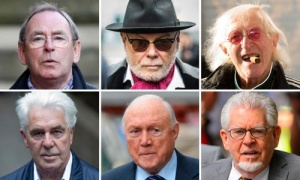 Clockwise from top left: Fred Talbot, Gary Glitter, Jimmy Savile, Rolf Harris, Stuart Hall, Max Clifford