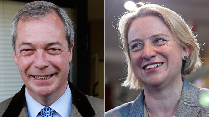 Nigel Farage, the leader of the United Kingdom Independence Party (UKIP) and  Britain's Green Party leader Natalie Bennett (Reuters/Suzanne Plunkett)