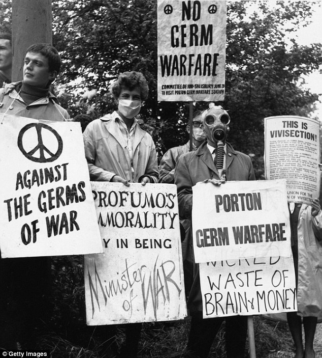 A group of 100 supporters demonstrating against germ warfare at the government's Porton Down military research facility in Salisbury Plain, Wiltshire, which has been at the subject of controversy over the years