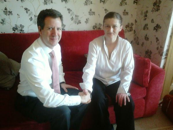 melanie shaw with her mp  chris leslie  who supported her throughout her prison ordeal