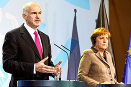Prime Minister George Papandreou and his government have been chided over spending by Germany's Angela Merkel.