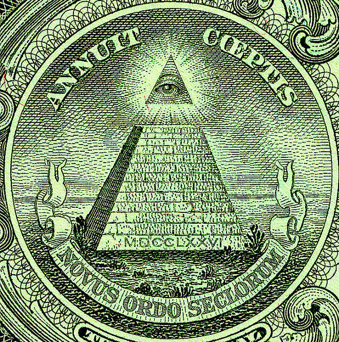 The Eye of Providence can be seen on the reverse of the Great Seal of the United States, seen here on the US $1 bill