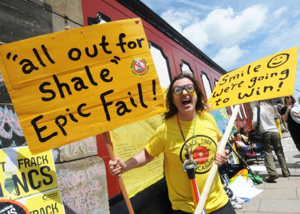 Anti-fracking protesters outside Lancashire County Hall