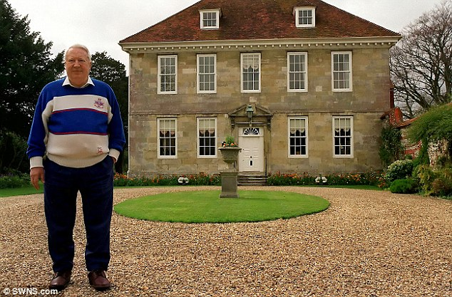Arundells: Sir Edward is pictured stood outside his memorabilia-filled home in Salisbury, Wiltshire, in 1992