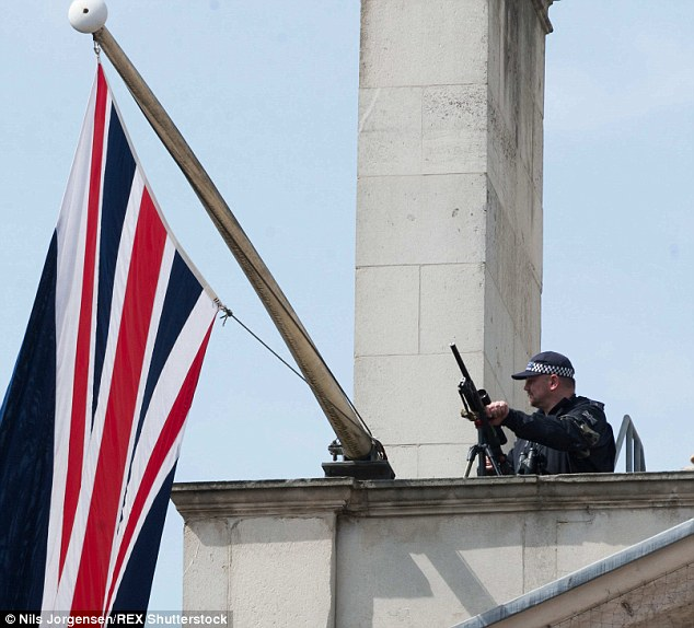 Military snipers (file photo) will be posted on rooftops, road blocks will be erected, and bags will be searched to protect the Queen, Prince of Wales, Prime Minister and thousands of VJ Day veterans
