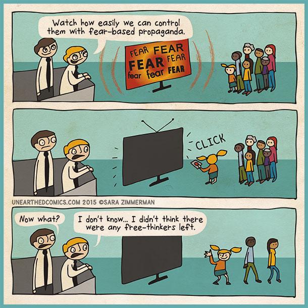 cartoon about politics and brainwashing through the media