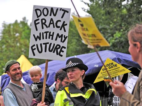 Anti-fracking protesters in Balcombe, in 2013