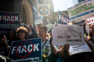 File picture shows anti-fracking demonstrators in New …