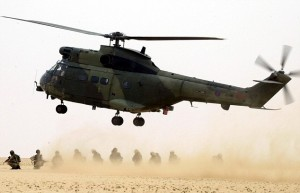 From Jamie Wiseman....An RAF Puma swoops down to collect troops from the 51 Squadron RAF Regiment in final preparations in the Kuwait desert, for their role among the first of the British forces in to Iraq. See David Williams Story.