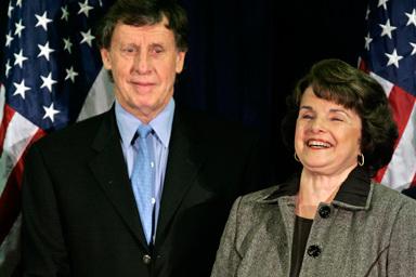 Sen Dianne Feinstein along with her husband Richard Blum (left )