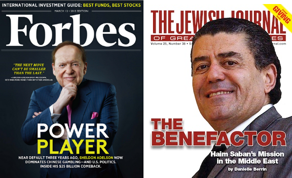Sheldon Adelson is a Republican and Haim Sabbah is a Democrat.