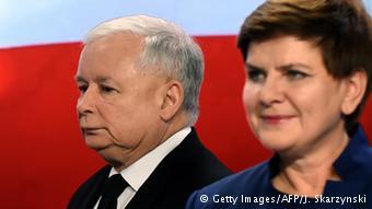 Prime Minister Beata Szydlo and PiS party leader Jaroslaw Kaczynski