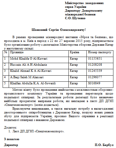 A letter by the Director of Ukrainian SpetsTechnoExport enterprise Pavlo Barbul to Ukrainian MFA with the list of Qatari delegation to attend Arms and Security Expo (Kiev, September 22-27, 2015)