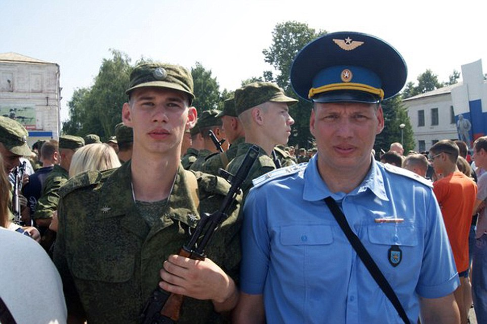 The pilot in the video has since been identified as Sergei Rumyantsev, a major at Shagol air force base near Chelyabinsk, east of the Ural mountains in south-central Russia. He is pictured (right) alongside a young serviceman who it is believed may be his son