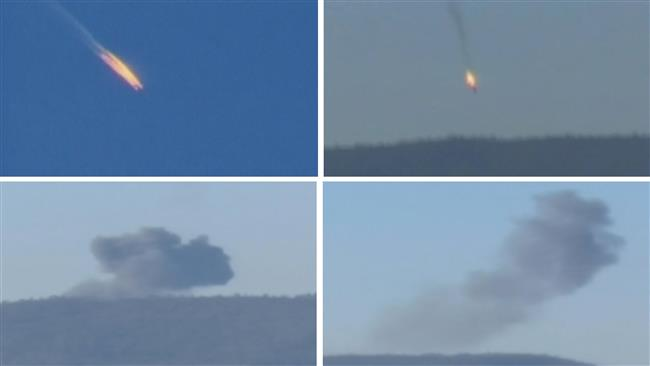 A combination picture taken from video shows a war plane crashing in flames in a mountainous area in northern Syria after it was shot down by Turkish fighter jets near the Turkish-Syrian border November 24, 2015. (Reuters Photo)