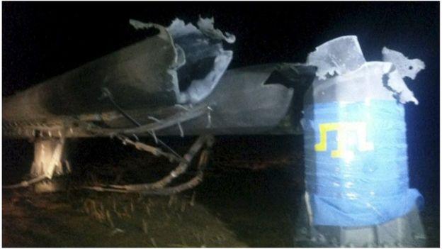 Damaged pylon