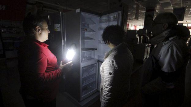 Power cut in Simferopol shop