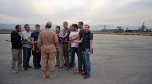 2746112 11/25/2015 Rescued pilot of the Russian Air Force's Su-24 jet, Captain Konstantin Murakhtin, center, answers journalists' questions at Khmeimim Air Base in Latakia. Dmitriy Vinogradov/Sputnik