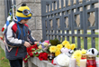 Toys and bouquets of flowers at the Russian Embassy in Minsk