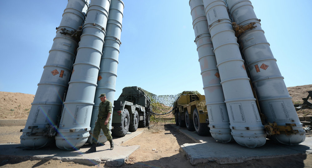 Military exercise involving S-300 surface-to-air missile systems.