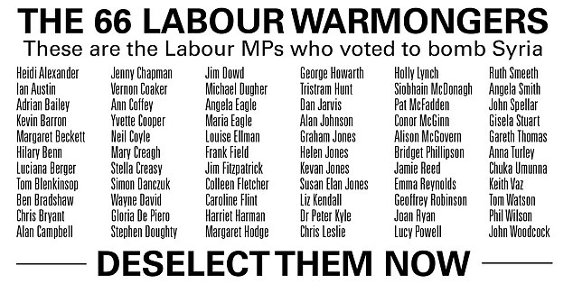 Traitor list:The hard-Left group Left Unity has published a list of 'warmonger MPs' who they want deselected by Labour after they voted for bombing in Syria