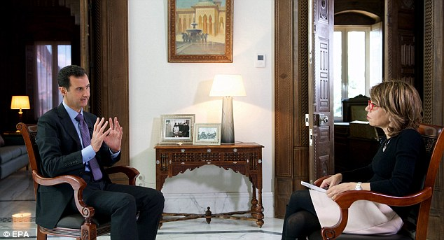 Fury: The Syrian government has regularly criticised the US-led strikes as ineffective and illegal because they are not coordinated with regime forces. President Bashar Al Assad (above)also condemned British airstrikes against ISIS in his country as 'harmful and illegal' in an interview published on Sunday