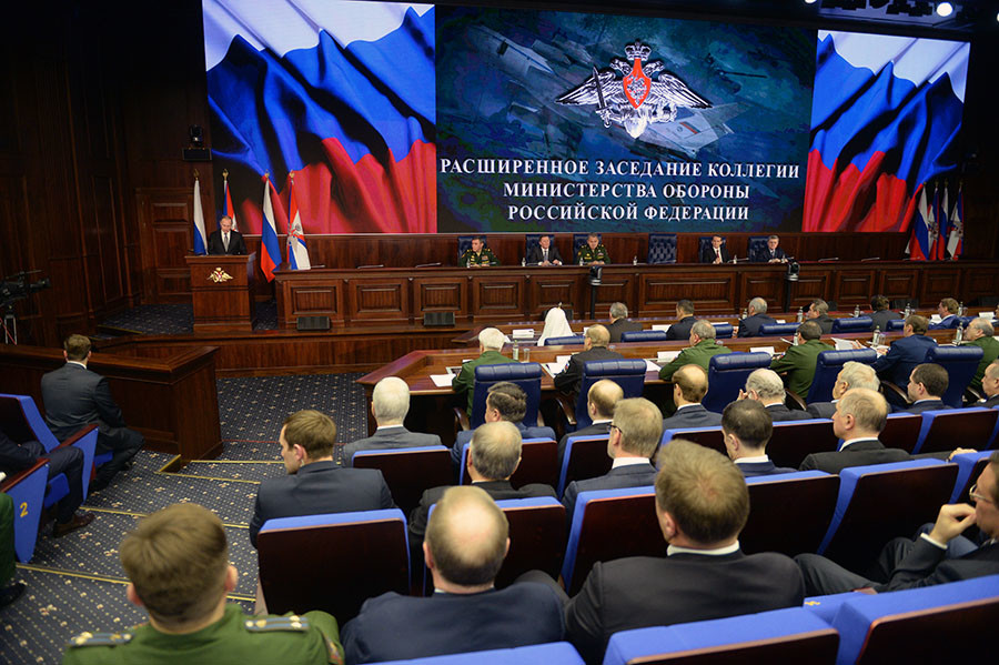 December 11, 2015. President Vladimir Putin speaks at the expanded meeting of Defense Ministry Board at the National Defense Management Center in Moscow. ©Grigoriy Sisoev