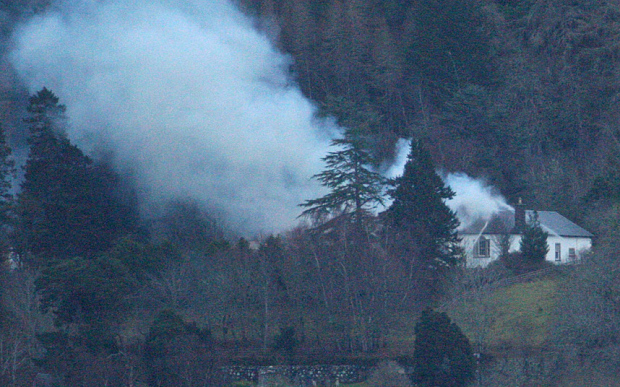 Smoke rises from Bolesinke House