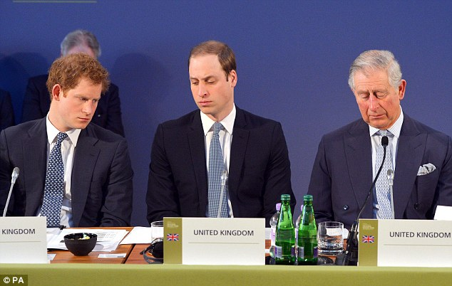 Worries: Speaking at a conference on Thursday, Charles - flanked by his two sons - warned that the imminent extinction of some of the world's most precious species would have 'dire consequences for humanity'