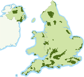 Map showing all 46 AONBs throughout England, Wales and N.Ireland