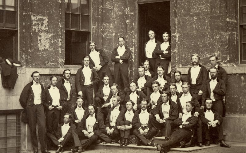 Charles Cecil Cotes, the album compiler, is standing at far left. Standing at back in the corner with arms folded is Archibald Philip Primrose, the 5th Earl of Rosebery, who went on to become prime minister in 1894. Probably the richest prime minister.