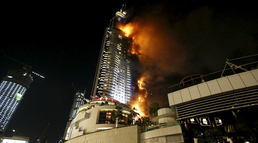 A fire engulfs The Address Hotel in downtown Dubai in the United Arab Emirates December 31, 2015. ©Ahmed Jadallah