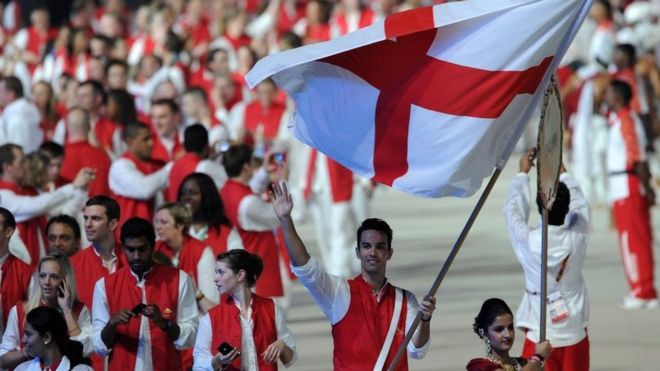 England athletes led by flagbearer Nathan Robertson take part in the opening ceremony of the Commonwealth Games in New Delhi in 2010