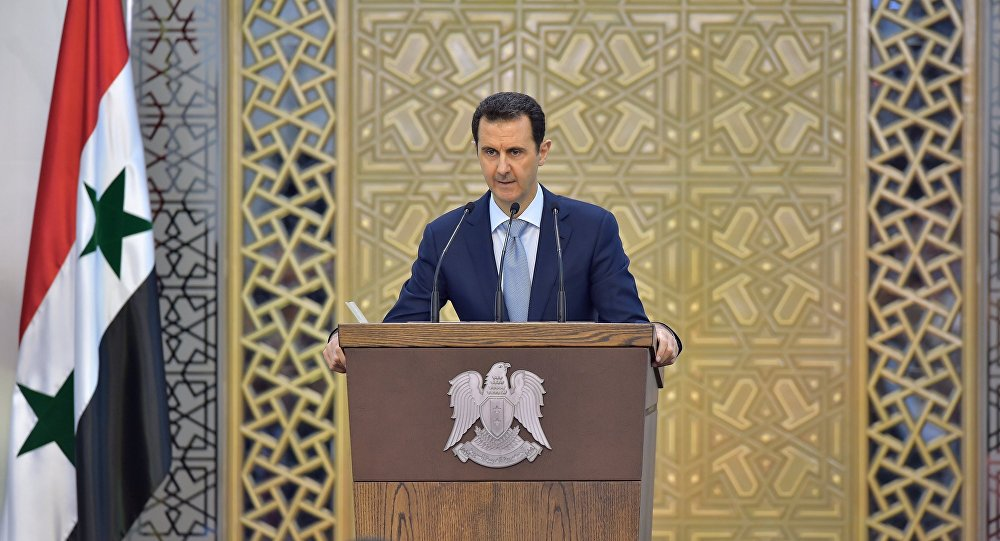 In this Sunday, July 26, 2015, file photo released by the Syrian official news agency SANA, Syrian President Bashar Assad delivers a speech in Damascus, Syria.