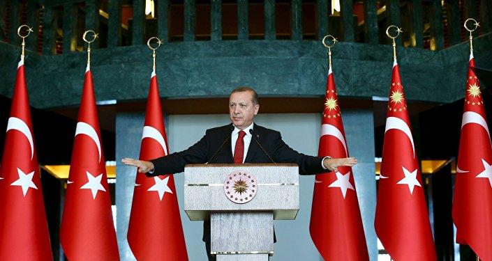 Turkey's President Tayyip Erdogan addresses the audience during a meeting in Ankara, January 12, 2016.