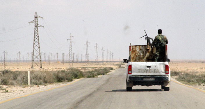 Syrian troops on the from Homs to Raqqah, Syria