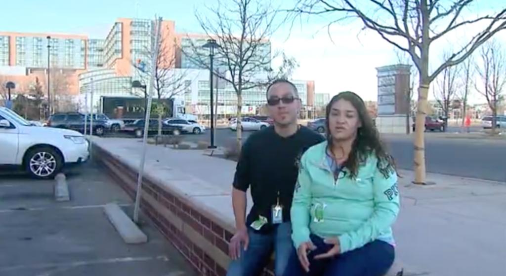 Amylea's parents Nicole and Ernie Nunez outside the Children's Hospital Colorado. Via: krqe.com.
