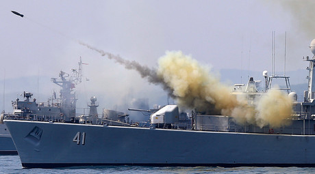 ARCHIVE PHOTO: A rocket is launched from the Bulgarian navy frigate