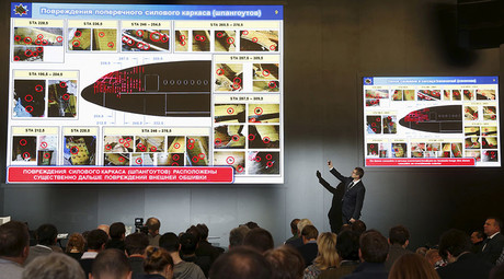 Journalists attend a news conference, organized by officials of Russian missile manufacturer Almaz-Antey and dedicated to the results of its investigation into Malaysia Airlines flight MH17 crash in eastern Ukraine, in Moscow, Russia, October 13, 2015. © Maxim Zmeyev